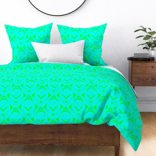 Neon Aqua and Lime Green Large Neon Art Deco Geometric Triangle Pattern Duvet Cover