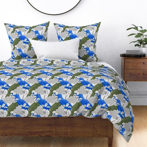 Small Blue and White Daisies Abstract Seamless Repeat Pattern Duvet Cover