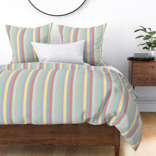 Pastel Easter Rainbow Vertical Stripes 1 inch Wide Duvet Cover