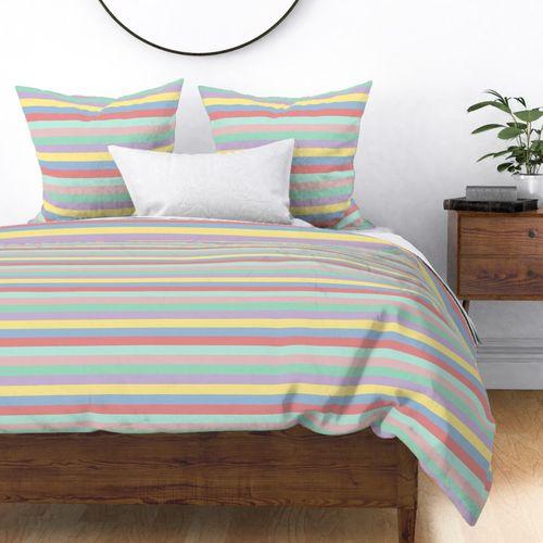 Pastel Easter Stripes Horizontal Duvet Cover