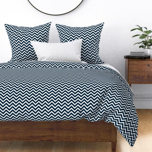 Chevron in Marine Navy and Seacap White Bands Duvet Cover