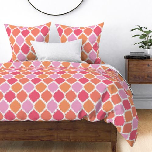 Coral and Pink Ikat Duvet Cover