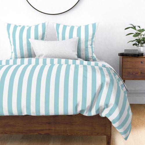 "Garter Blue 2"" Wide Cabana Stripes Duvet Cover"