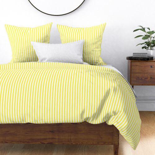 "Lemon Yellow Sailor 1/2"" Thin Stripes Duvet Cover"