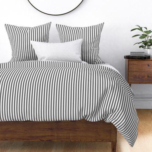 "Charcoal Grey Sailor 1/2"" Thin Stripes Duvet Cover"