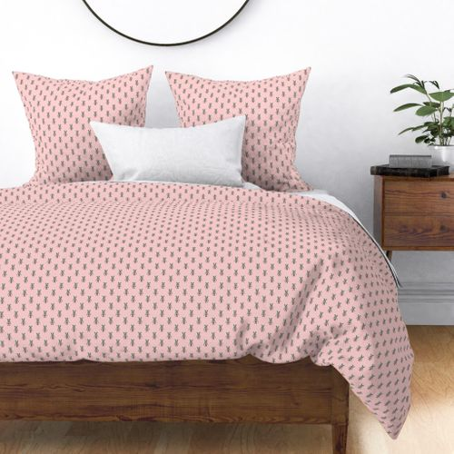 Badger Forest Friends All Over Repeat Pattern on Baby Pink Duvet Cover