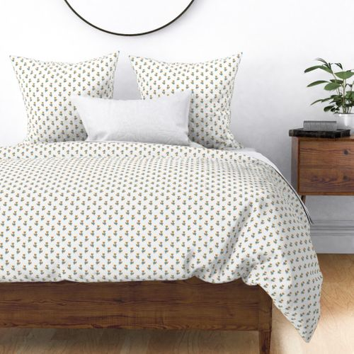 Fox Forest Friends All Over Repeat Pattern on White Duvet Cover