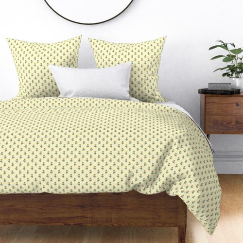 Fox Forest Friends All Over Repeat Pattern on Lemon Yellow Duvet Cover