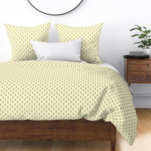 Hedgehog Forest Friends All-Over Repeat Pattern on Lemon Yellow Duvet Cover