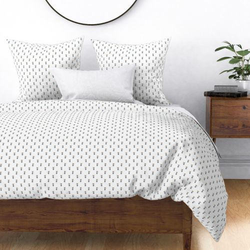 Mouse Forest Friends All Over Repeat Pattern in White Duvet Cover