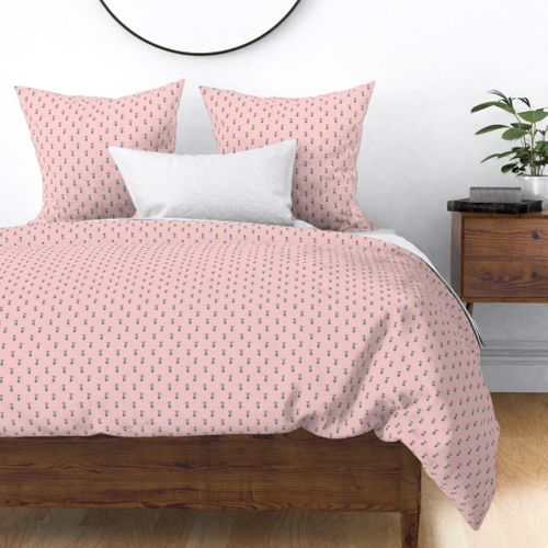 Mouse Forest Friends All Over Repeat Pattern in Baby Pink Duvet Cover