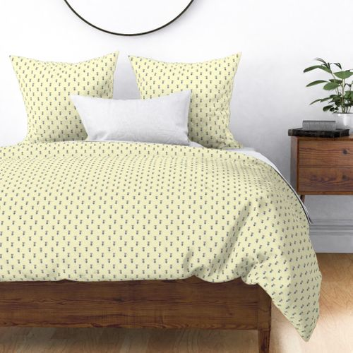 Mouse Forest Friends All Over Repeat Pattern in Lemon Yellow Duvet Cover