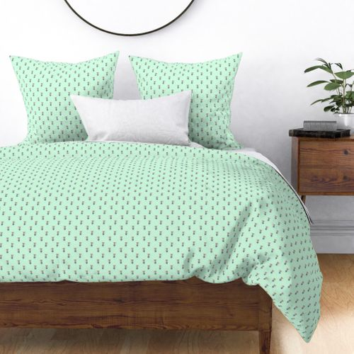 Mouse Forest Friends All Over Repeat Pattern in Mint Green Duvet Cover