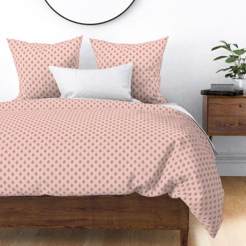 Owl Forest Friends All-Over Repeat Pattern in Baby Pink Duvet Cover