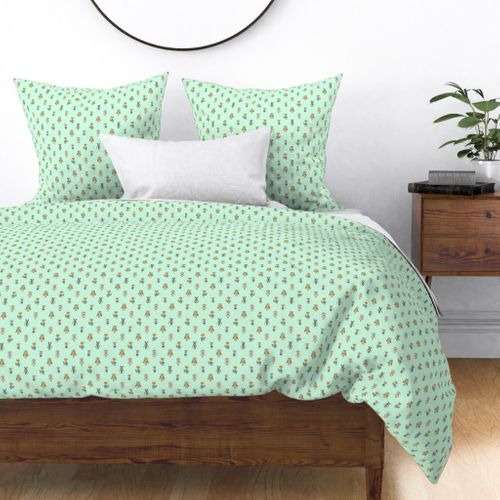 Forest Friends Woodland Animals Water Colors in Mint Green Duvet Cover