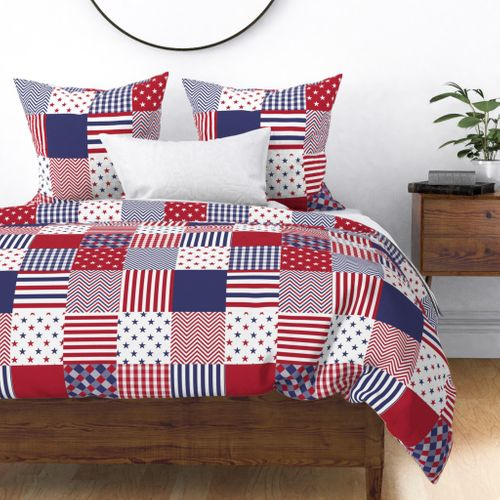 USA Americana Patchwork Red White & Blue Quilt Duvet Cover