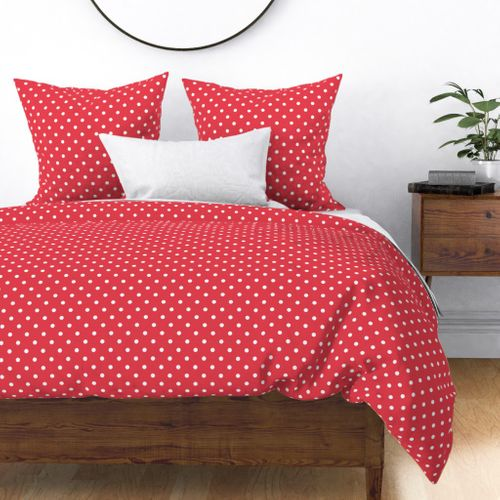 Coral and White Polka Dots Duvet Cover