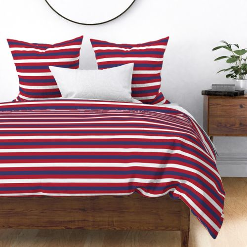 USA Flag Alternating Red and Blue with White Stripes Duvet Cover