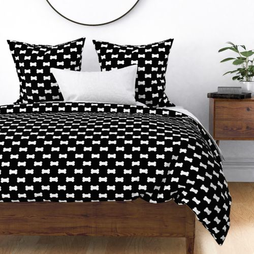 Licorice Black with White Dog Bones Duvet Cover