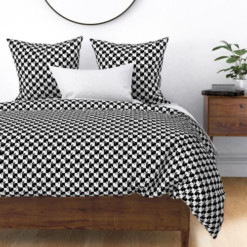 Black and White Weimaraners on Checkerboard Duvet Cover