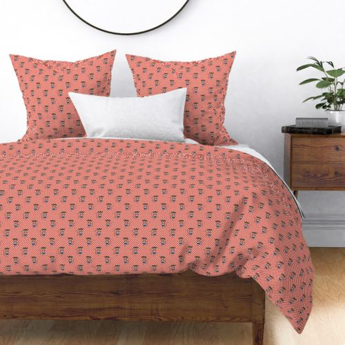 Monkey Boy Red and WhiteCheckers Duvet Cover