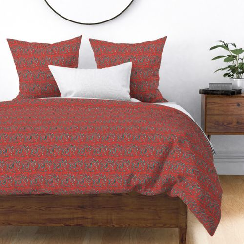 Red Tigerfish Duvet Cover