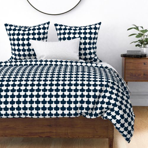 Navy and White Scallop Duvet Cover