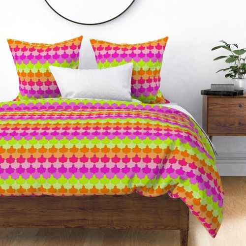 Bright Lime, Orange and Pink Quatrefoil LA Scallop Duvet Cover