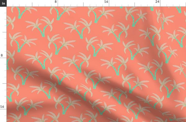 Twin Palms in Coral Duvet Cover