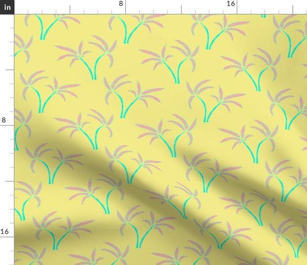 Twin Palms in Lemon Duvet Cover