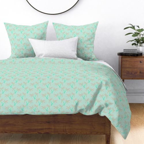 Twin Palms in Mint Duvet Cover