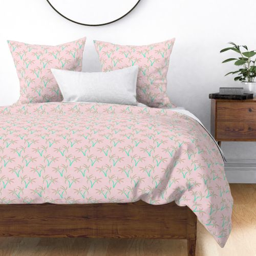 Twin Palms in Pink Duvet Cover