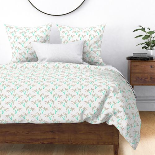 Twin Palms on White Duvet Cover