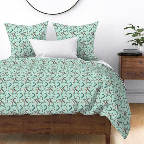 Seaweed Green and Coral Squiggles on Mint Duvet Cover