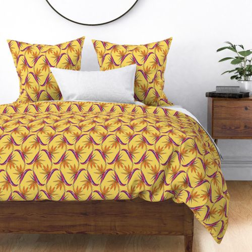 Birds of Paradise on Yellow Duvet Cover
