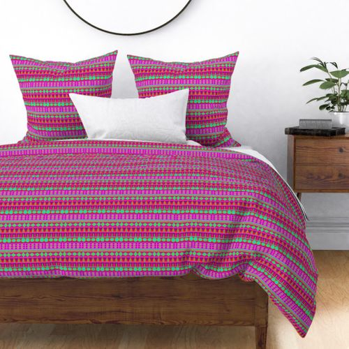 Pink and Lime Aztec Tribal Geometric Bands Duvet Cover