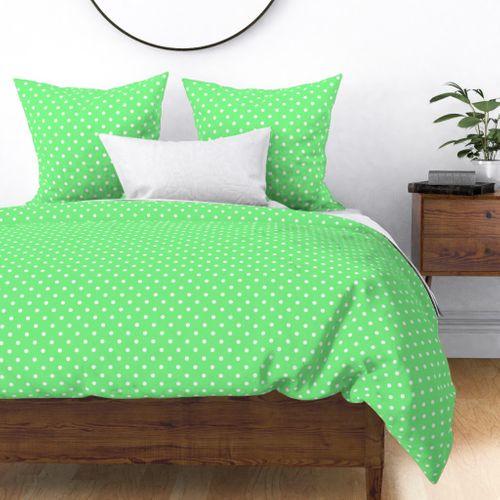 Apple Green and White Polka Dots Duvet Cover