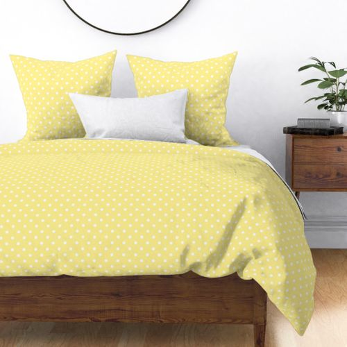 Buttermilk Yellow and White Polka Dots Duvet Cover