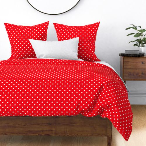 Carmine Red and White Polka Dots Duvet Cover