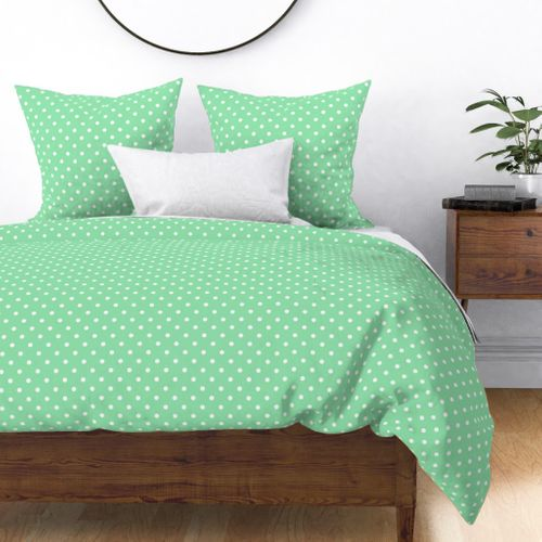 Mint Green and White Polka Dots Duvet Cover