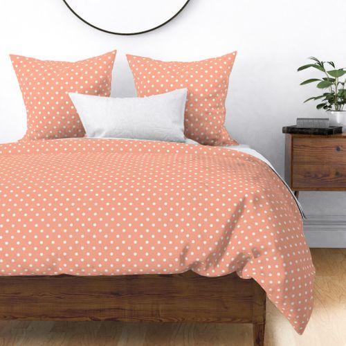 Peach and White Polka Dots Duvet Cover