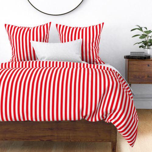 Carmine Red and White Stripes Duvet Cover