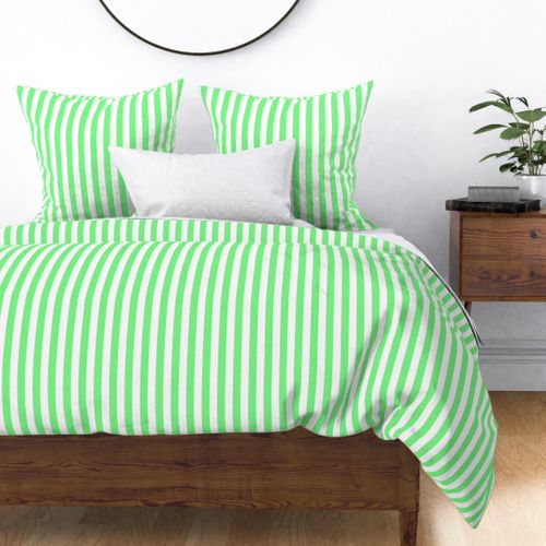 Apple Green and White Wide Stripes Duvet Cover