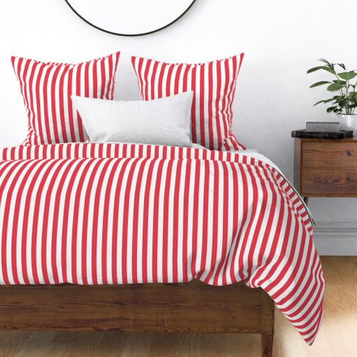 Coral and White 1 inch Wide Stripes Duvet Cover
