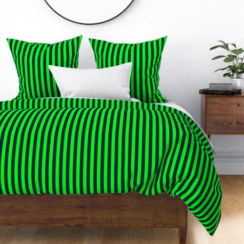 Navy and Neon Lime Green Vertical Stripes Duvet Cover