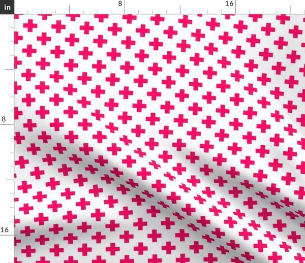Hot Neon Pink Crosses on White Duvet Cover