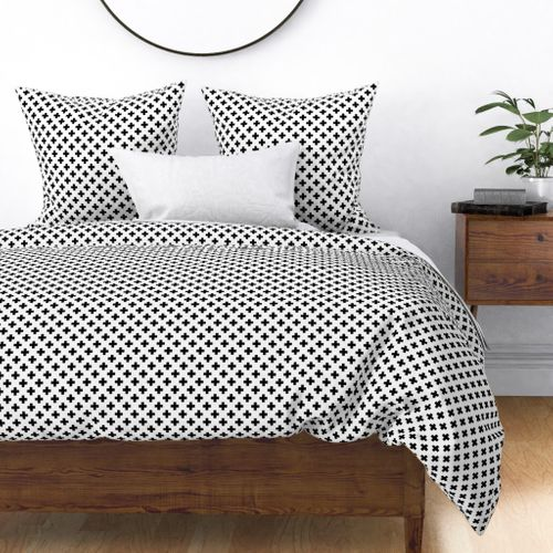Black Crosses on White Duvet Cover