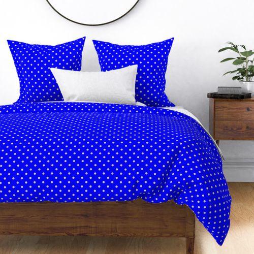 Beige Tan Polka Dots on Royal Blue Duvet Cover