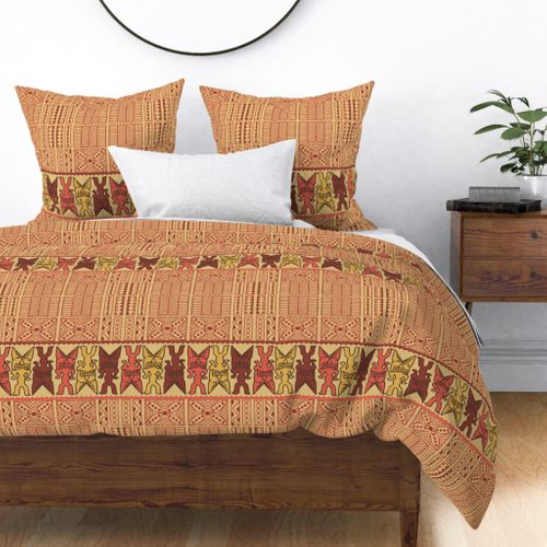 Coco and Red Clay Tiki Luau Tribal Print Duvet Cover