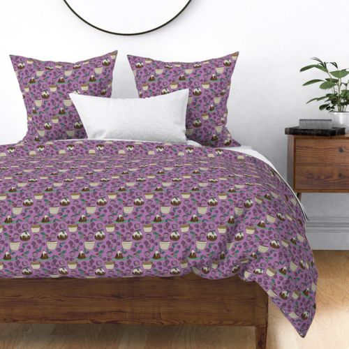 Christmas Plum Pudding with Holly Duvet Cover